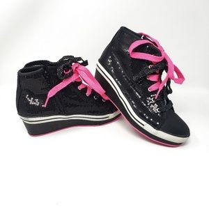 Circo | Black Pink Sequin Wedge Lace Sneakers 6